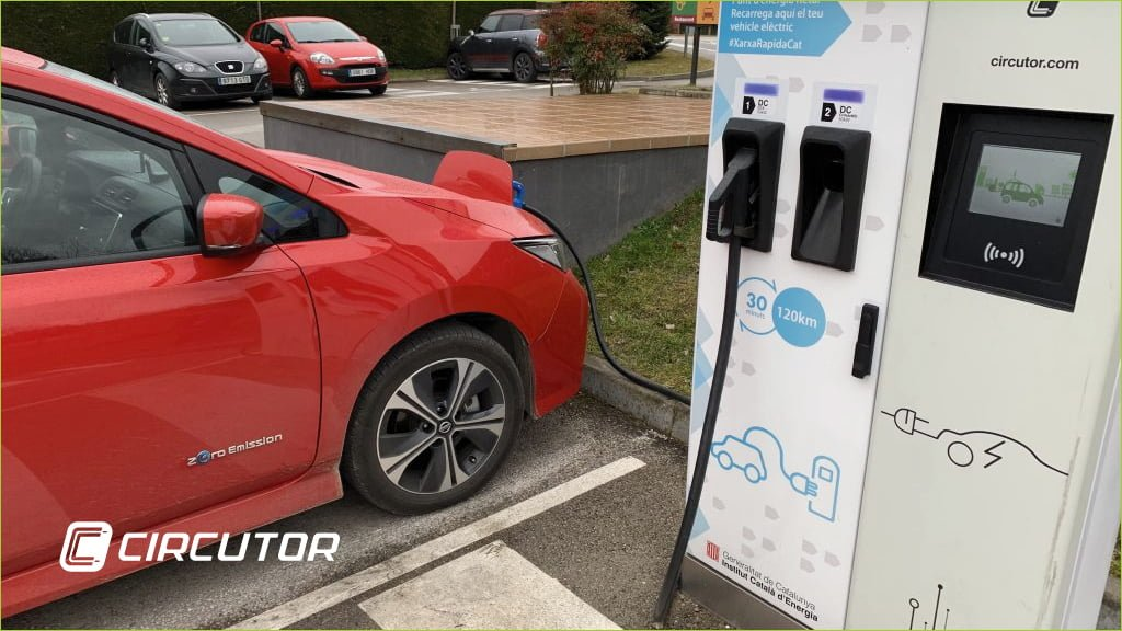 Circutor EV charges PV carports and a red car