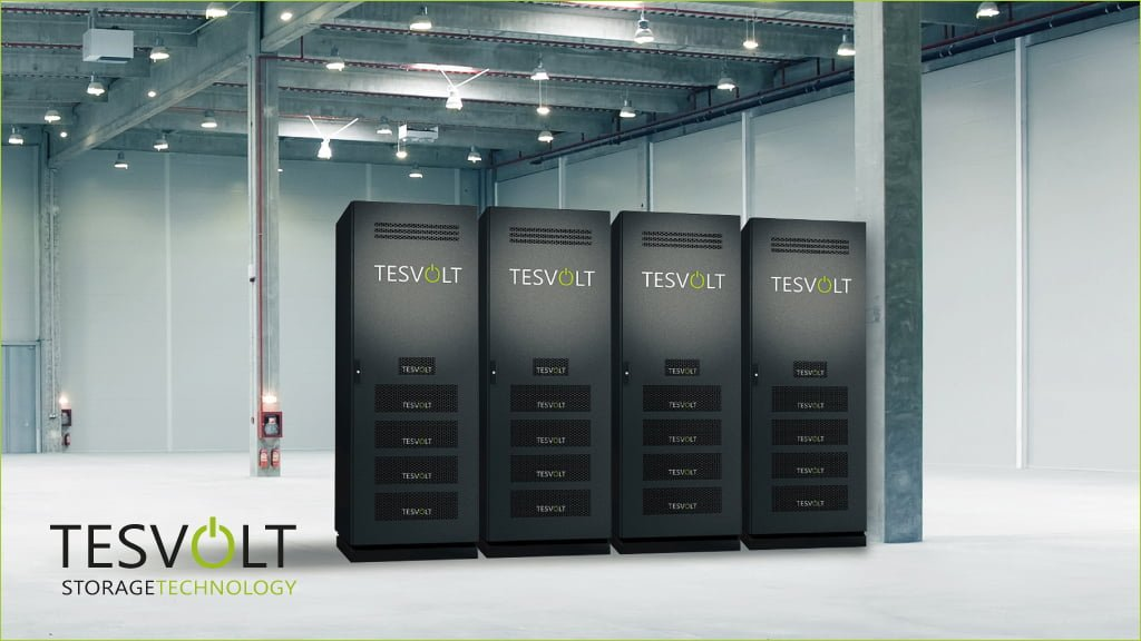 four black Tesvolt Lithium-ion batteries